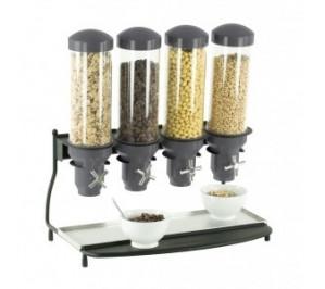 Distributeur de céréales 4 tubes - structure métallique - 4 récipients en abs