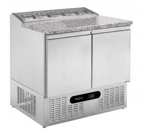 """Table réfrigérée 2 portes """"pizzetta"""" dessus granit"""