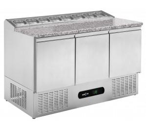 """Table réfrigérée 3 portes """"pizzetta"""" dessus granit"""