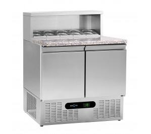 """Table réfrigérée 2 portes """"pizzetta"""" plan granit - dessus couvert"""