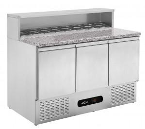 """Table réfrigérée 3 portes """"pizzetta"""" plan granit - couvercle ferme"""