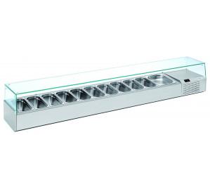 Kit réfrigéré vitré Long. 2490 - capacité bacs GN 1/3