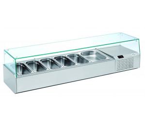 Kit réfrigéré vitré Long. 1600 - capacité bacs GN 1/3