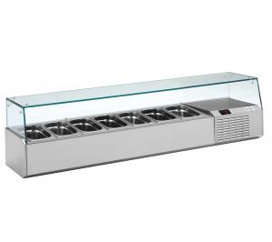 Kit réfrigéré vitré Long. 1600 - capacité bacs GN 1/4