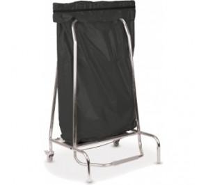 Porte sac poubelle inox 110l - 2 roulettes pivotantes avec freins - dimensions: 720 x 520 x 190 mm