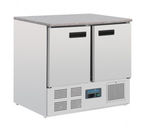 Table réfrigérée dessus granit 2 portes GN 1/1 froid positif