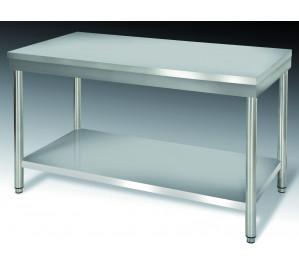 Table inox dim: 2000x600 ouverte centrale avec étagère basse