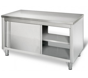 TABLE INOX FERMÉE TRAVERSANT NEUTRE DIM 2500 X 800