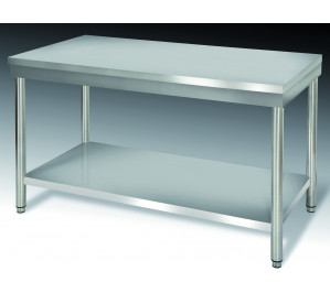 Table inox dim: 1200x700 ouverte centrale avec étagère basse