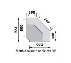 Meuble angle de service externe 90° Atena de MAFIRA - dessus marbre
