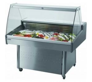 Vitrine réfrigérée speciale poissons inox - mobile - hera - 1300x860x1240mm - 450w